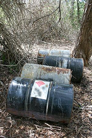 Image of 4 barrels in bushland.