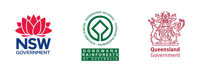 Logos for New South Wales Government; Gondwana Rainforests of Australia; Queensland Government